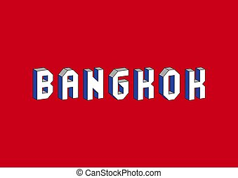 Bangkok text with 3d isometric effect