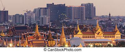 bangkok, thaïlande, bouddha, coucher soleil, émeraude