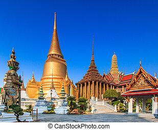 bangkok, thaila, kaeo, phra, asia, buddha, esmeralda, wat,...