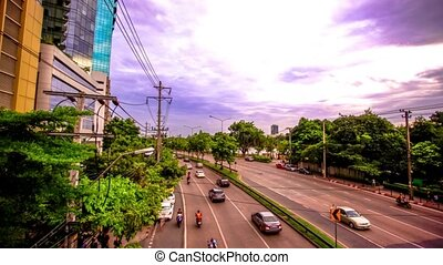 BANGKOK, THAILAND, 4 AUGUST 2014, Traffic on a road in the city centre. HD. 1920x1080