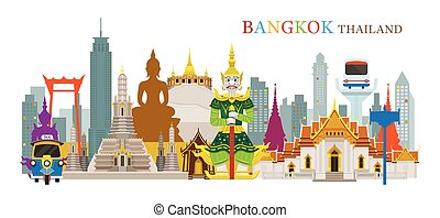 Bangkok, Thailand and Landmarks - Travel Attraction, Urban...