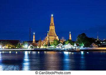 bangkok, ), (, thailand., arun, amanecer, wat, noche, templo
