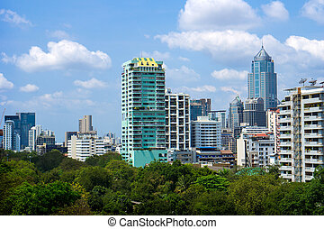 bangkok city and modern office buildings and garden in...
