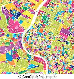 Bangkok, Thailand, colorful vector map