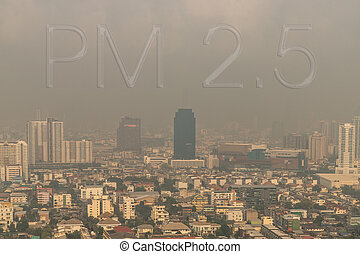 Aerial view of Dust in Bangkok city is full of harmful PM 2.5 dust with bad air pollution, the place to risk of respiratory and cancer.