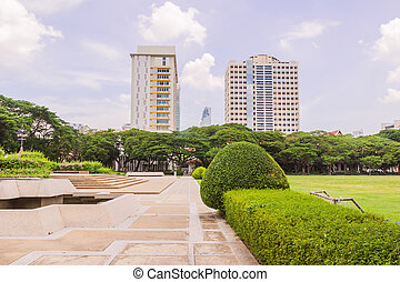 Bangkok, Thailand - June 5, 2016: King Chulalongkorn and King Vajiravudth (Rama V and VI) statue at front of University with background of Faculty of Science buildings