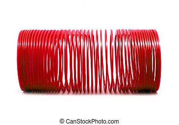 BANGKOK, THAILAND - MARCH  20, 2018 : RED slinky spring toy Isolated on white background. Illustrative editorial.