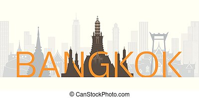Bangkok, Thailand Skyline Landmarks with Text or Word