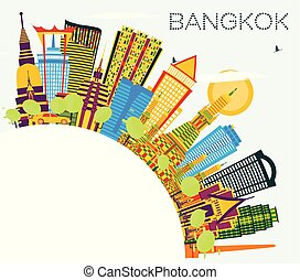 Bangkok Thailand Skyline with Color Landmarks, Blue Sky and Copy Space.