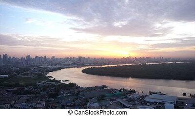 Bangkok, Thailand sunrise skyline