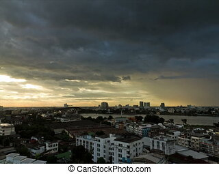 bangkok, timelapse, coucher soleil, rivière