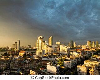 bangkok, timelapse, coucher soleil