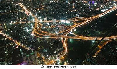 bangkok, timelapse, trafic, nuit