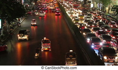 bangkok traffic jam - time lapse bangkok traffic rush hour...