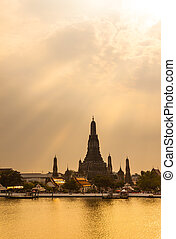 bangkok, tramonto, tailandia, arun, durante, wat, crepuscolo, vista