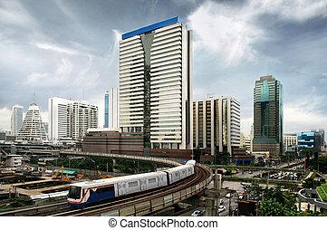 bangkok, trem, céu