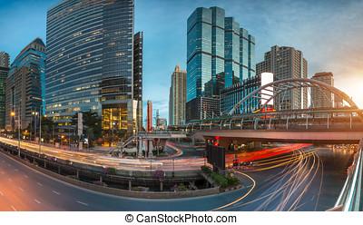 bangkok, város, éjszaka, kilátás, noha, legfontosabb, forgalom