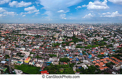 bangkok, város, alatt, felülnézet