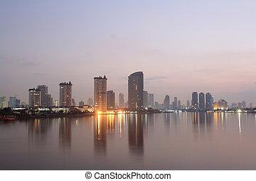bangkok, város, -ban, napnyugta