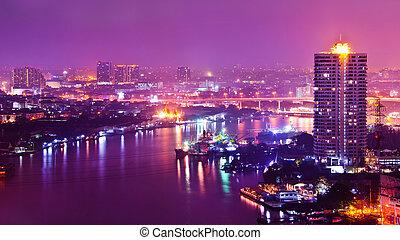 bangkok, város, nighttime, scape