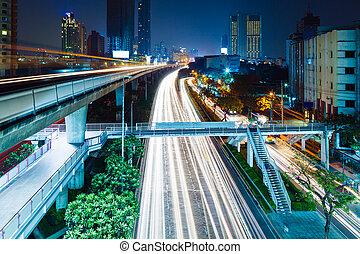 bangkok, város, noha, forgalom, nyom