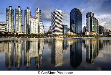 bangkok, város, város, és, a, víz dísztér