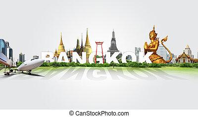 bangkok, viagem, conceito