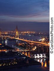 Bangkok view of Bhumibol Bridge across Chao-praya river at night