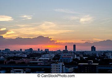 bangkok, ville, dans, coucher soleil