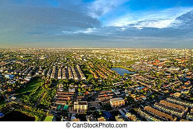 bangkok, ville, dans, vue aérienne