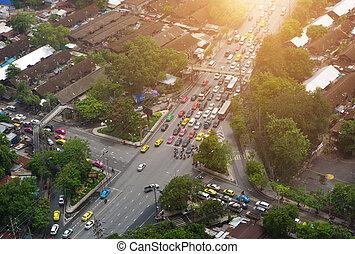 bangkok, ville, et, et, embouteillage, dans, vue aérienne