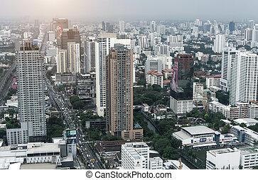 bangkok, ville, et, moderne, bâtiments bureau, dans, vue aérienne