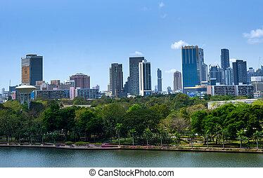 bangkok, ville, et, moderne, bâtiments bureau, et, jardin, dans, vue aérienne