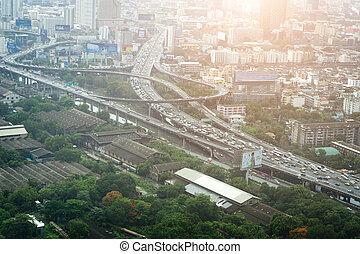 bangkok, ville, et, trafic, dans, vue aérienne