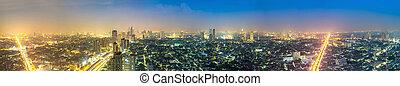 bangkok, ville, nuit, panorama
