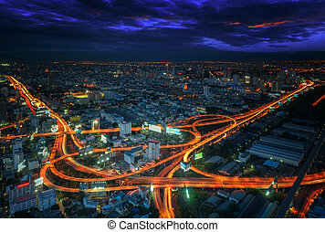 bangkok, ville, nuit, vue, à, principal, trafic