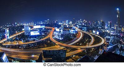 bangkok, ville, nuit, vue