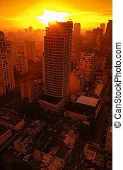 bangkok, ville, silhouette, matin