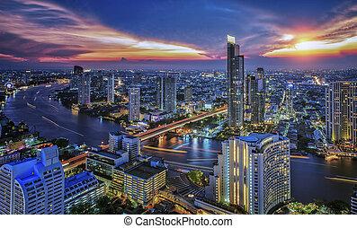 bangkok, ville, temps nuit