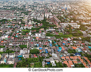 bangkok, ville, thaïlande, dans, vue aérienne, à, soir, lumière