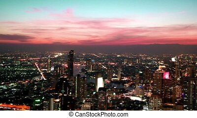 bangkok, vue, aérien, panoramique, coucher soleil, thaïlande