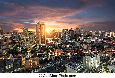 bangkok, vue ville, à, trafic