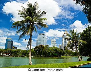 Bangkok with blue sky and tree