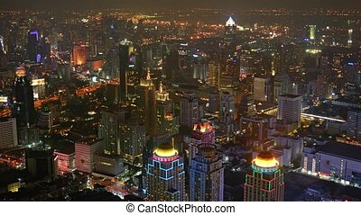 Bangkok's Cityscape with Night Time Lights from an Elevated...