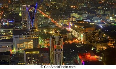Bangkok's Dramatic Cityscape at Night. Video 1080p -...