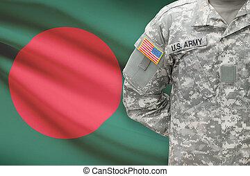 banglades, -, amerikai, katona, lobogó, háttér