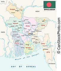 bangladesch administrative and political vector map with...