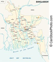 bangladesch road vector map