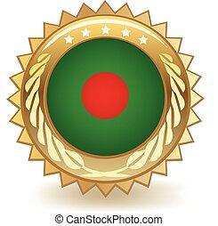 Bangladesh Badge - Gold badge with the flag of Bangladesh.