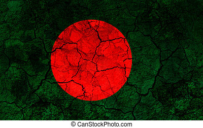 bangladesh country flag painted on a cracked grungy wall